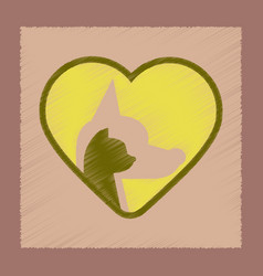 Flat shading style icon cat dog heart vector