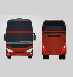 Front and rear side of red bus vector
