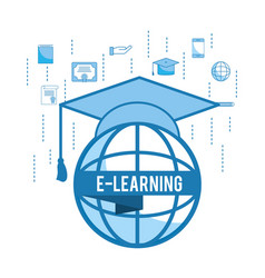 Global education study with graduation cap vector