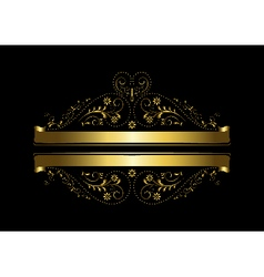 Gold floral design with a cross and ribbons vector image