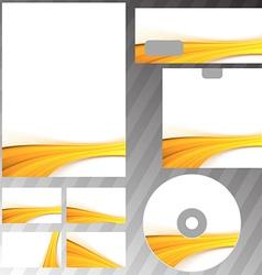 Golden wave border corporate mock-up set vector