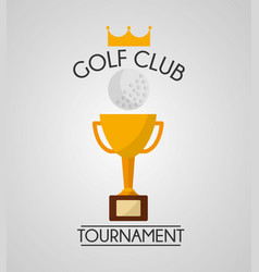 golf club tournament ball and trophy winner vector image