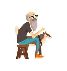 grandfather in sunglasses sitting on a chair the vector image
