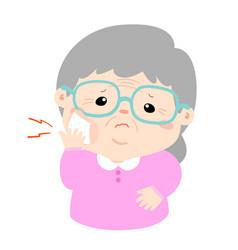 Grandmother having toothache cartoon vector