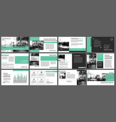 Green presentation templates for slide vector