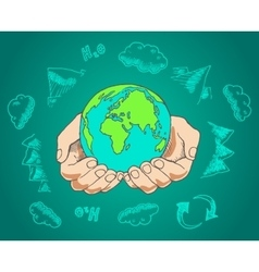Green world concept Tree on the earth in hands vector