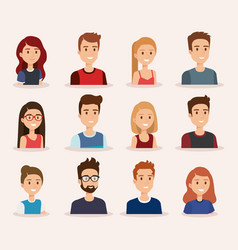 group of young people vector image