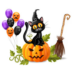 halloween card with black cat sitting on a pumpkin vector image