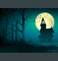 Halloween hut moon light trees mystical night vector