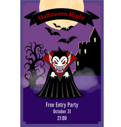 halloween party flyer with dracula vector image