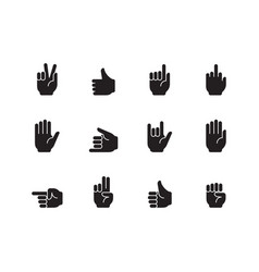 hand gestures icon palm fingers pointing holding vector image