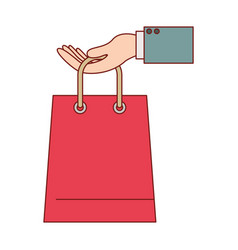Hand holding a trapezoid shopping bag in colorful vector