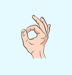 hand ok sign communication gestures concept vector image