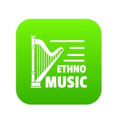 harp icon green vector image