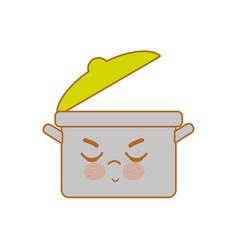 Kawaii nice angry cooking pot vector