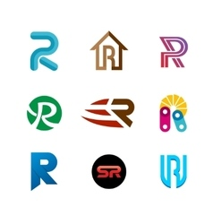 Letter R logo set Color icon templates design vector image