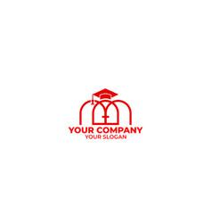 M hall education logo design vector