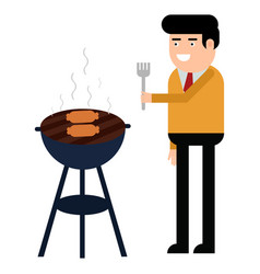man is cooking a barbecue grill fry meat and vector image