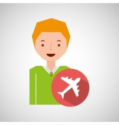 Man tourist traveler airplane design graphic vector
