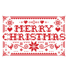 merry christmas greeting card pattern vector image