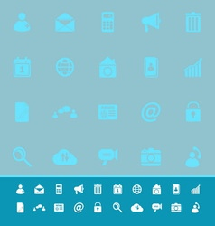 Mobile phone color icons on blue background vector image