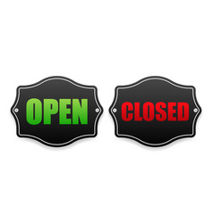 Open and closed business banner on door on white vector