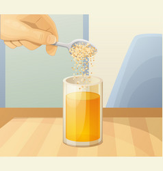 Orange juice glass and spoon with powder vector