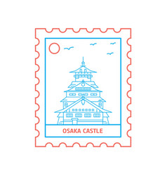 osaka castle postage stamp blue and red line style vector image