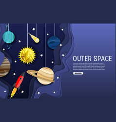 outer space web banner template layered vector image