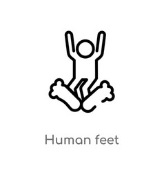 Outline human feet icon isolated black simple vector