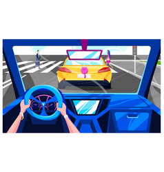 People drive car transport interior inside vector