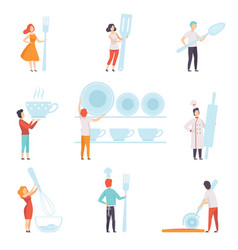 people holding giant kitchen tools set faceless vector image