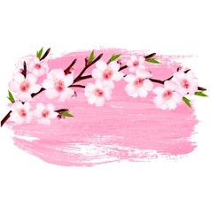 Pink paint sakura branch banner vector