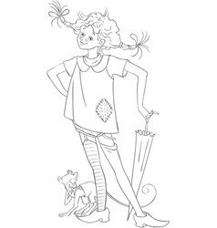 pippi longstocking with pet monkey coloring page vector image