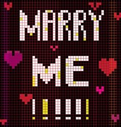 Pixel marry me vector