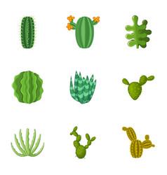 Prickly cactus icons set cartoon style vector