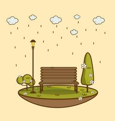 rain park natural landscape vector image