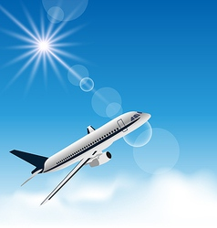 Realistic background with flying airplane vector image