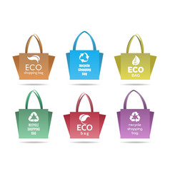 Recycling shopping ecobags set vector