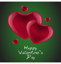 Red hearts card on a green background vector