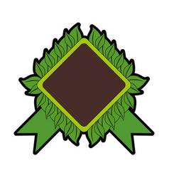 Rhombus frame with leaves icon vector