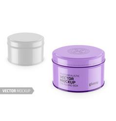 round glossy tin round box template vector image