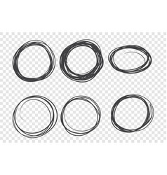 Round hand drawn frames set vector