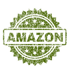 Scratched textured amazon stamp seal vector