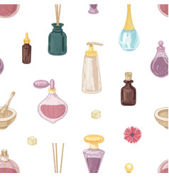 Seamless pattern with fragrant cosmetics perfumes vector
