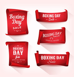 set boxing day sale parchment and banners vector image