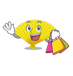 Shopping souvenir folding fan in character shape vector