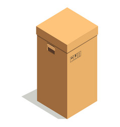 Simple brown cardboard box with small signs and vector