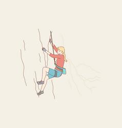 Sport mountaineering tourism adventure danger vector