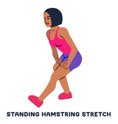 Standing hamsting stretch sport exersice vector